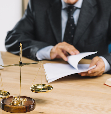 Process servers with a lawyer serving a paper